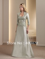 A-line Silk Shantung Hand-beaded Lace Bodice Strapless sweetheart Neckline Mother of the Bride Dress
