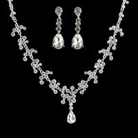 Mother's day gift Elegant Princess Style Fashion Silver Color Bridal Jewelry Sets Flower Necklaces And Dangle Earrings For Women