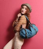 Fashion Women Handbag, Canvas Bag with Genuine Leather Trimming,blue/gray /khaki tote bag for women