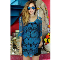 women blouses lace blouse roupas beautiful blue flowers for women 2014 summer ladies blusas femininas freeshipping
