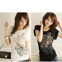Hot Sell Girls Juniors Womens T-Shirt embroidered leaves Top& Blouse Free&Drop shipping