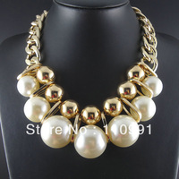 2014 New Unique Exaggerated Fashion Big Choker Bib Chunky Statement Gold Chain Pearl Necklaces Jewelry for women