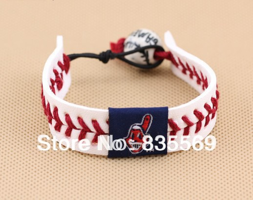 Wholesale 300pcs Mix Teams Baseball cow leather braided bracelet Baseball Wristband TS004(China (Mainland))