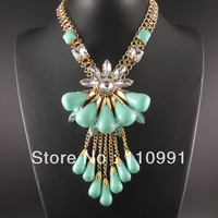 2014 New Unique Fashion Flower Choker Bib Chunky Turquoise Pink White Chain Crystal Tassel Statement Necklaces Jewelry