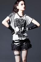 Misses Girl Skull Pattern Loose Short Sleeve T-shirt Tee Shirt Tops Women Batwing Blouse