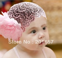 Wholesale and Retail lace net with flower Elastic hairband headband hair accessory party accessory children fashion headband