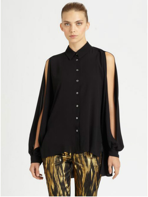 Free Shipping Loose money before long and short sides split split-sleeved black chiffon sleeves(China (Mainland))