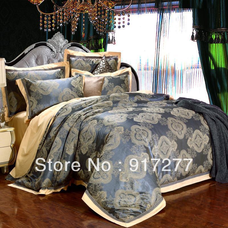 4pcs luxo TRANSPORTE LIVRE DE ALGODÃO Noble / SILK Jacquard Rainha e Rei de seda conjunto de cama / Lençois / Duvet Cover / Folha de cama(China (Mainland))