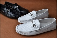 Free shipping Men high quality cowhide genuine leather comfortable white color male loafer