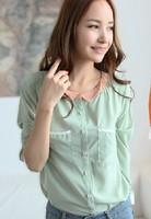 Patchwork Pullover Blouse Shirts Slim Plus Size 2014 Hot Sale Women Fashion Spring Autumn Chiffon Turn-down Collar Full 8213