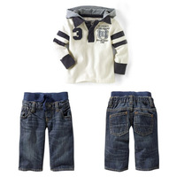 Hot Retail Boy's Clothing Set Boys 2 Piece Sports Suits Sets Baby Kids Casual Clothes Sets Hoodies + Jeans Free shipping