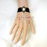 Small diy black vintage velvet strip pearl bracelet short design jewelry wristband accessories female