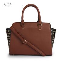 Michaels women handbags Smiling  face rivet The cat's ear  leather Handbag tote purse luggage 842