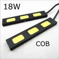 10pairs 100% Waterproof COB Chip Aluminum Led bar light 12V 18W Super white daytime running DRL Lamp Auxiliary Fog lights #q