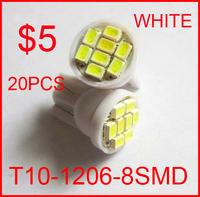 20pcs/lot white T10 8smd 8 smd 8led 8 led 194 168 192 W5W 1206 super bright Auto led car led light/t10 wedge led auto lamp #q