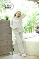High quality yarn circle female long-sleeve at home service loose lounge set soft sleepwear