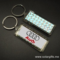 Waterproof Solar powered LCD flashing car brand key chain ring LCD key holder promotional gifts