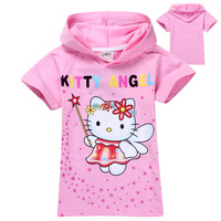 wholesale 6pcs/lot hot sale new Kids girls brands hoodies baby hello kitty short sleeve T shirts/Sweat shirts kids outerwear