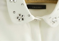 2014 Spring New Arrival Women's Japanese Fresh Style Diamond Collar Slim Chiffon Blouse Female Shirts