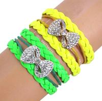 CCB285 AAA Glisten Crystal Bowknot Leather Bracelets Fluorescence Color Leather Cuff Bracelets Women
