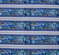 VB Mediterranean white border blue  flower  fabric cotton by the meter