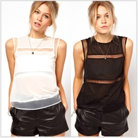 Free shipping 2014 New Fashion Women's Sexy Sleeveless Chiffon Blouse summer Ladies' White Black Shirt XS-XXL HC3879