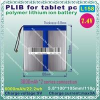 [L158] 7.4V,6000mAH,[58100105] PLIB ( polymer lithium ion battery ) Li-ion battery  for tablet pc,GPS,E-BOOK;MP4;POWER BANK;MP3