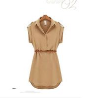 new 2014 Fashion Elegant Women Clothing Ladies Polo Neck Cap Sleeve Chiffon Casual OL Shirt Dress With Belt  Free Shipping