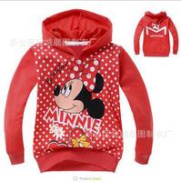 Children's clothing 100% cotton loop pile with a hood sweatshirt MINNIE cartoon Hooded Sweater Hoodies & Sweatshirts