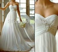 Free Shipping 2014  White/Ivory Chiffon Pleat Lace Applique Beading Diamond Wedding Dress In Stock US Size 2 4 6 8 10 12 14 16