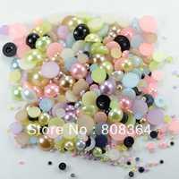 Free Shipping 2500Pcs Random Mixed Color&Size Half Round Pearl Beads Nail Art Phone Decoration(W02755 X 1)