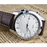 free shipping,Popular in the 2014 men's watch, belt quartz watch, big dial watch with calendar