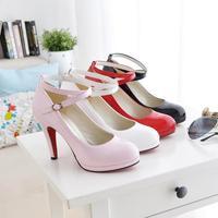 big size! 2014 new women's pumps women's hasp thin heels wedding dress shoes red dress shoes formal shoes, size:34-43