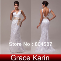 Free Shipping!Elegant Grace Karin Mermaid Floor Length Deep V Neck Lace + Satin Bridal Wedding Formal Dress White/Ivory CL3850