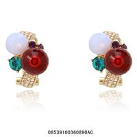 Women pomegranate red stud earrings.Rhinestone earrings.Opal stud earrings, 18KGP rose gold green crystal earrings.Free shipping