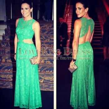 2014 Vestido De Festa Sexy Scoop Neck Sleeveless See Through Back Green Mermaid Long Evening Dresses DYQ945