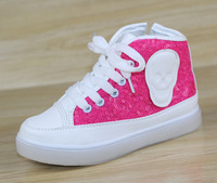 Girls shoes high-top canvas shoes princess shoes sequined Children