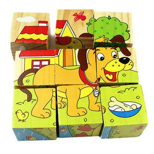 Free Shipping Children Wooden Cartoon Animal Puzzle Toys 6 Sides Wisdom Jigsa