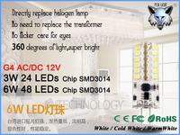 ZK12 Dimmable LED G4 lamp 3W/6W AC/DC 12V led light lamp bulb replace 30W/60W halogen lamp 24 / 48 SMD3014  2pcs/lot