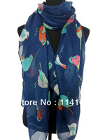 Fashion Ladies Bird Print Scarf Shawl Wrap Winter Spring Hijab Accessories, Free Shipping
