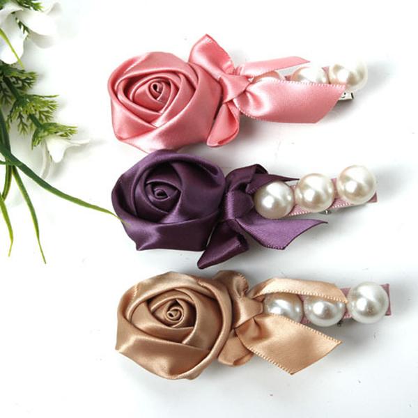 Size 85mm 12pcs/lot cute rose flower baby hair clips kids pearl hair barrette children hair bow clips hairpin hair accessories(China (Mainland))