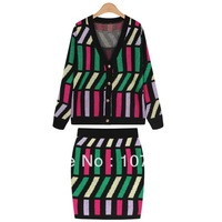 Spring 2014 fashion in Europe and the United States hit color asymmetric lattice cardigan sweater dress two piece suit bag hip