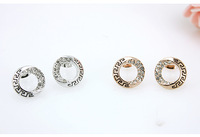 Fashion jewelry.Free shipping.Rhinestone stud earrings.Generous 18KGP rose gold & white gold stud earrings, Two color optional.