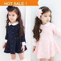 New 2014 Spring Autumn Children Clothing Girls Princess Dress Girl Bow Doll Collar Long-sleeved Dresses Children Dress 2 Colors