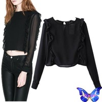 Brand New  Women Chiffon Lace Blouse Shirt Camisa Feminina Long Sleeve Crop Tops European And American Apparel