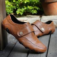 Men's casual shoes men genuine leather breathable soft outsole flats shoes