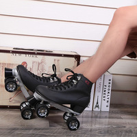 Black Black Double Skates Roller Skates F1 Roller Shoes Automobile Race Skating Shoes Adult Male Women