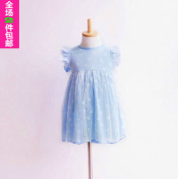 Children's clothing 100% cotton ultra-thin lace butterfly sleeve short-sleeve dress pleated skirt female 100% cotton skirt