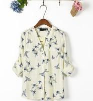2014 Women's Bird and Butterfly Print Chiffon Blouses New Arrival Spring Women's Shirt