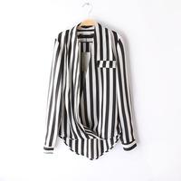2014 Causal Women blouses Fashion Black and White Stripe Shirt Fashion Chiffon Blouse For Women